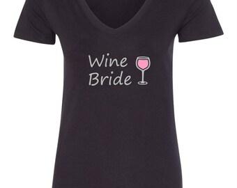 Bride T-Shirt Wine Bride with Wine Glass