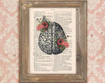 Anatomy Brain Flower Anatomy Print Poppy Human Anatomy science wall decor art print drawing Vintage Book Dictionary Gothic Get well soon
