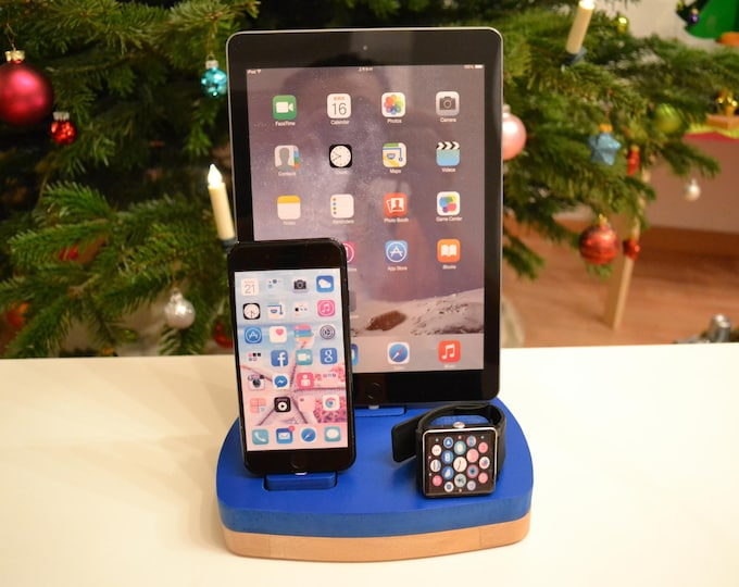 iphone ipad charging station docking station stand Apple Watch charging station Apple Watch station stand IDOQQ tre Blue Wood Station