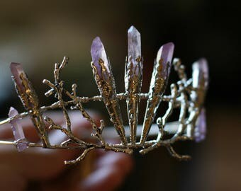 Purple Elven Mermaid Fairy Raw Quartz Tiara
