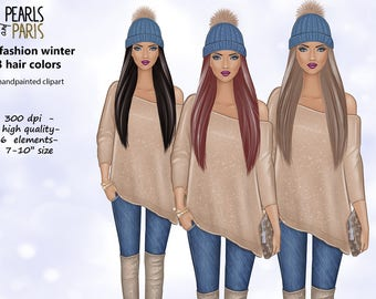 Winter clipart,3 hair colors, sweater clipart,winter girls clipart