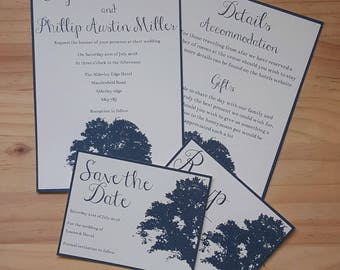 Navy Blue Wedding Invitation Sample Set