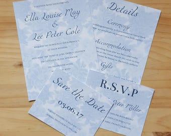 Invitation, RSVP, Save the Date & Details, Floral Wedding Stationery