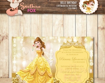 Beauty and the Beast Disney Princess Belle Birthday Invitation - Custom Digital Invitation 4x6 Belle Invitation, Princess Belle Invite,Belle