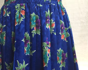 1980's Andrea Gayle Petites Blue Floral Accordian Skirt