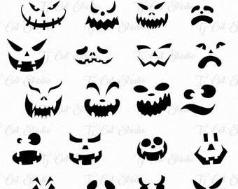 Pumpkin Faces Svg, Halloween, Pumpkin Faces Silhouette, Halloween Vector Files for Silhouette Cameo or Cricut Commercial & Personal Use.