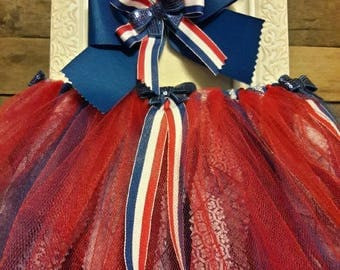 Tulle and Material Patriotic Tutu with Matching Bow