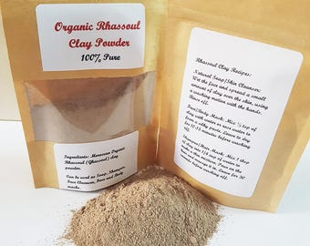 Organic Rhassoul Clay Powder, Rhassoul, 100% Pure and Natural, Ghassoul Clay, Moroccan Clay, Face mask, Shampoo, Red Clay, Natural Cosmetics