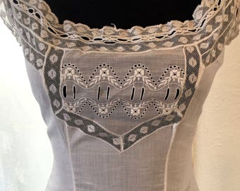 Edwardian Nightgown Slip Chemise - Mother of Pearl Buttons