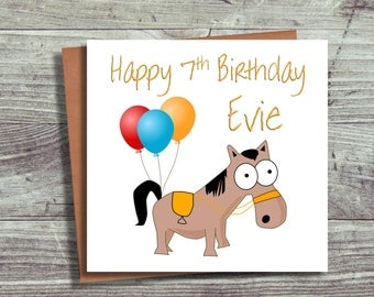 Personalised Birthday Card, Horse Card, Horse Lover, Fun Birthday Card
