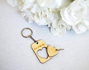 Couple Heart Keyrings