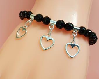 Black Onyx Bracelet, Sterling Silver Bracelet, Heart Charm, Heart Bracelet, Gemstone Beads, Black Onyx Jewellery, Onyx Jewelry, Black Onyx