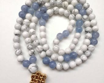 Howlite and Aquamarine Mala