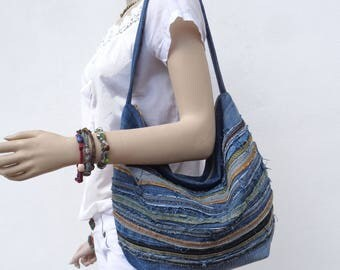 Denim bag slouchy hobo handbag purse recycled upcycled