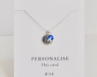 Birthstone Necklace, Sapphire Birthstone Necklace, September Birthstone Necklace, Birthday Gift, Personalised Necklace, Initial Necklace