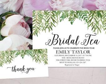 Bridal Tea Invitation, Bridal Tea Party Invitations, Greenery Bridal Tea, Boho Bridal Tea, Bridal Tea Party, INSTANT DOWNLOAD, A-BT6
