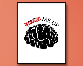 Brain Art Print - Brain Wall Art - Anatomy Wall Art - Brain Art - Smart Brain Wall Art - Funny Brain Wall Art - Brain Anatomy Wall Art Print