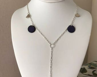 Enamel and sterling silver heart necklace