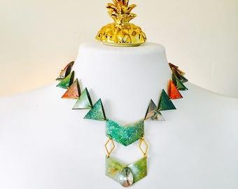 Infinity arrow bib necklace - Triangles geometric bib necklace for woman - Colorful necklace - Bohemian gypsy Burning festival neck piece
