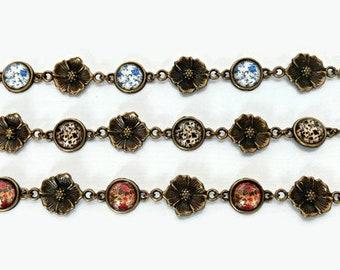 Flower bracelet, Cameo bracelet, Floral bracelet, Shabby chic bracelet, Retrò bracelet, Vintage bracelet, Romantic gift, Gift for her