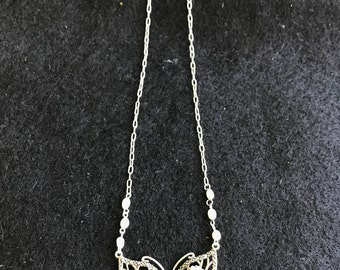 Sterling Silver Butterfly Necklace with Pearl and Marcasite