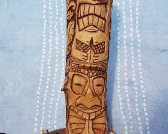 Tiki Totem Pole wood carving from Silver Birch. Great for a candle stick. 25cm tall + base