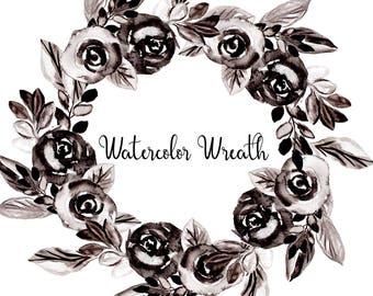 Watercolor Flowers Clip Art Black Rose Clipart Black Wreath Png Watercolor Wreath Of Flowers Watercolour Black and White Flowers Floral Png