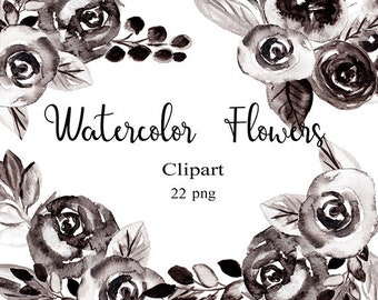 Watercolor Flower Clipart Black and White Roses Clip Art Watercolor Clip Art Watercolor Floral Clipart Black Flowers Black Rose Clipart