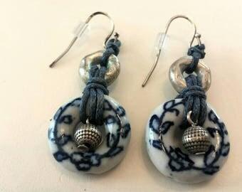 Blue White Porcelain Chinese Earrings E