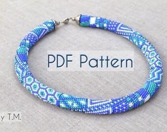 PDF pattern Patchwork bead crochet Bead crochet rope Seed bead pattern Beaded rope pattern Seed bead rope Beadcrochet rope Bracelet pattern