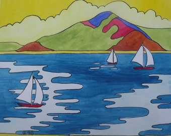 Clarice Cliff inspired landscape painting - Gibraltar