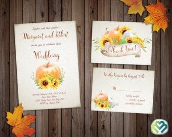 Sunflowers Pumpkin Fall Wedding Invitation Set  Printable Wedding Invite Country Wedding Autumn Wedding Suite Sunflower Wedding Theme