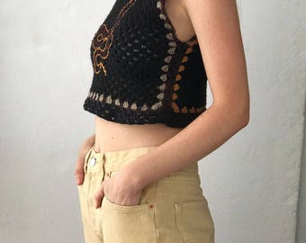 HAND MADE: Wool & Cotton Crochet Top w/ Embroidered Snake