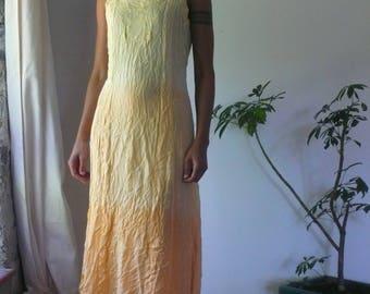 Vintage Yellow Ombre Maxi Long Festival Hippie Gypsy Boho Embroidered Shift Sun Dress, You taste like sunshine
