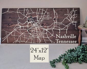 Nashville Map Wall Art, Large Wooden Map, Nashville City Map, Wooden Street Map, Custom Painted Map, House Address Map by Novel Maps