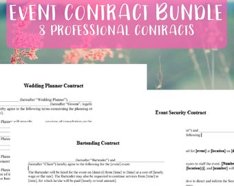 8 Piece Event Planning Contract Template Bundle | Instant Download