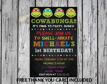24hrs Turn around time, TMNT invitation, Ninja turtles birthday invitation, Ninja turtles invite, Ninja turtles party invite, TMNT invite