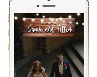 Wedding Snapchat Geofilter, Fairy Lights Wedding Snapchat Filter, Wedding Ideas, Snapchat Geofilters, Rustic Wedding Geofilter