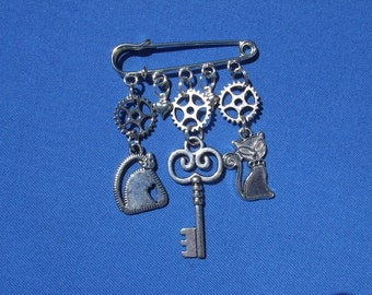 Steampunk Key, Cats and Cogs/Gears  Kilt pin brooch