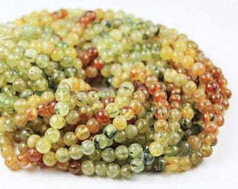 "Natural Shaded Prehnite Smooth Round Ball Gemstone Loose Beads Strand 13"" 5mm 6mm"