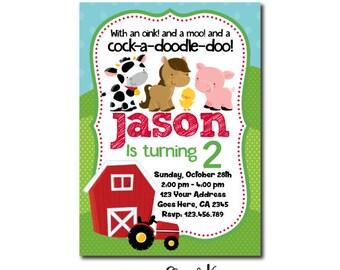 Farm Birthday Invitation, Farm Birthday Invite, Cow Invitation, Barnyard Invitation, Digital Invite, 3 options