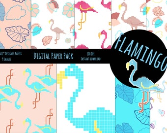 Digital Paper Flamingo Summer • digital • paper • scrapbook • press • digital file • Flamingos • rose •