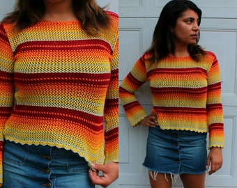 Vintage 70's Colorful Striped Sweater