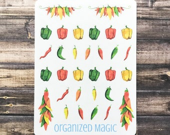 pepper planner stickers, southwest stickers, cooking stickers, food stickers