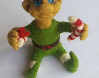 Hand made, needle felted CHRISTMAS ELF.