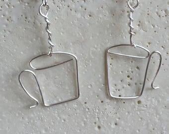 Silver Coffee or Tea Mug Earrings