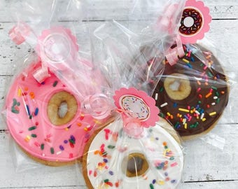 Donut party favors 12 donut cookies Donut birthday Donut decorations Donut party supplies Donut invitation donut cupcakes donut stand