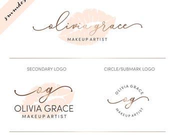 Lips Logo Design, Makeup Logo Design, premade Lips Logo watermark, Watercolor Branding kit, Makeup artist logo, makeup Branding Package, 120