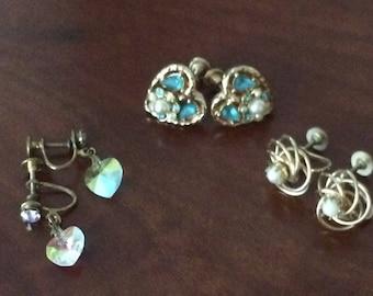 Screw back Earrings Lot of 3 1950's