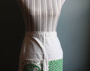 Cute Canvas Half-apron with Green Partridge Screen Print Design